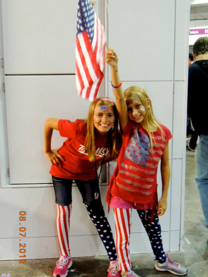 Alexia (left)..Emily (right) decked out in their USA gear in London