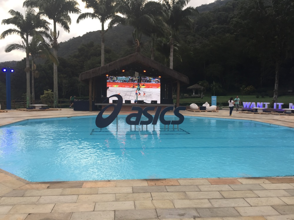 Poolside with life size viewing on the big screen TV!