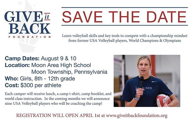 I'm thrilled to announce that this summer the @giveitbackfdn will be coming to my home city, Pittsburgh, Pennsylvania to host a volleyball camp at Moon Area High School August 9 & 10 2019! Registration opens April 1st!  For more information, visit www.giveitbackfoundation.org (link in profile)