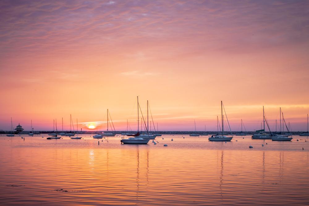 Sunrise over McKinley Marina. During Setup for USA Triathalon Age Group Nationals. MIlwaukee, Wi