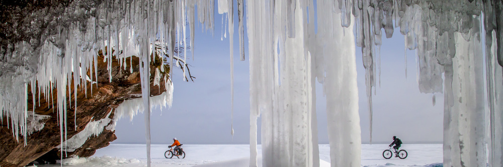 Ice Caves off the coast of Bayfield WI make for some of the most beautiful settings to fat bike.