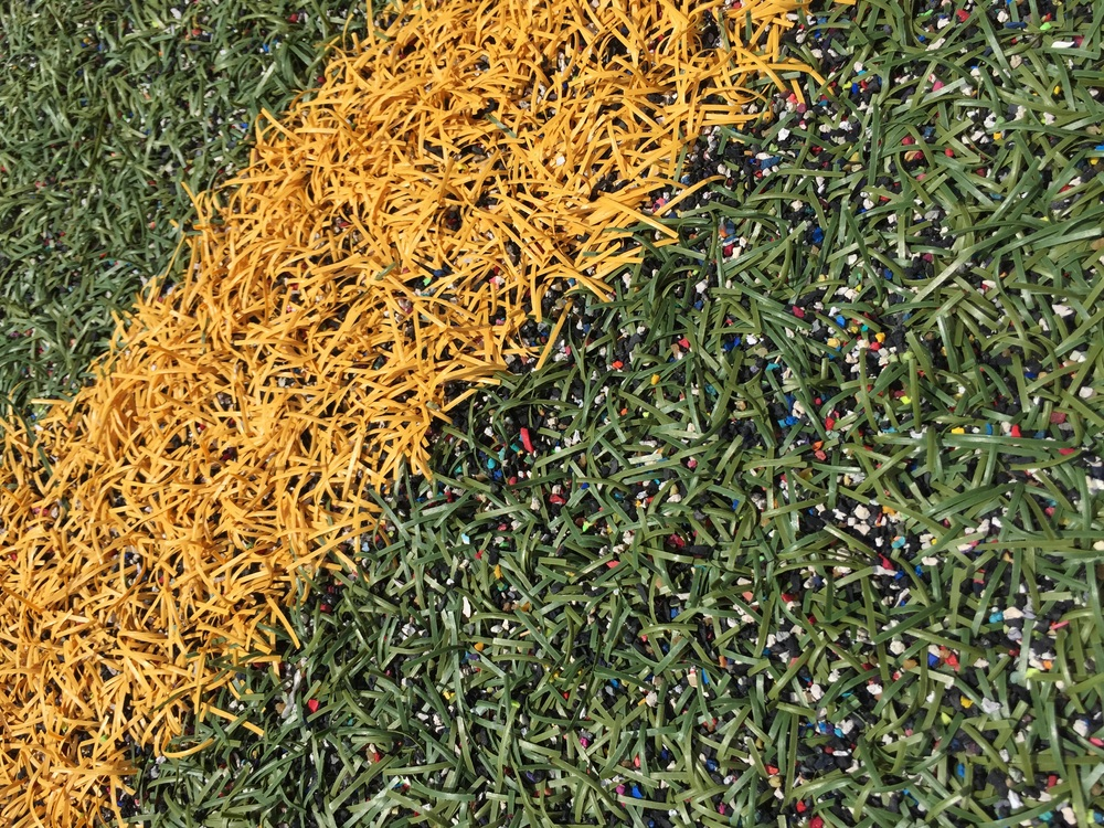 All of the turf on campus is made of recycled shoe soles