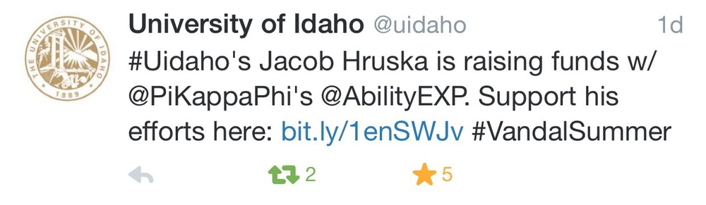 The University of Idaho Tweeted about me!