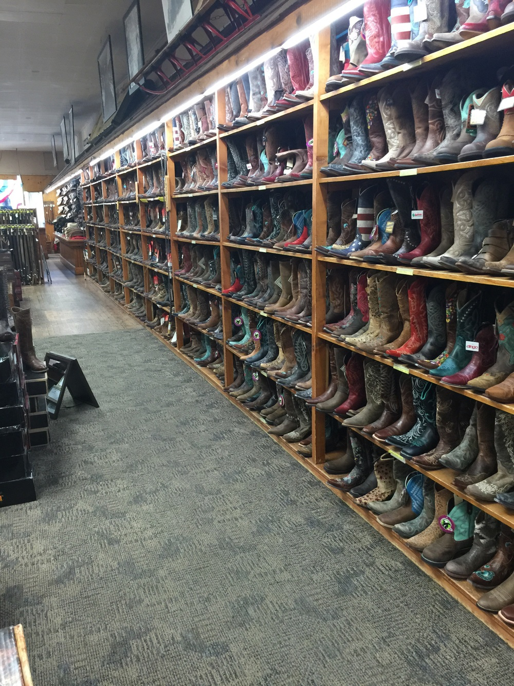 There had been billboards for this store for the past 150 miles. I had to check it out. They had a ton of cowboy boots and hats.