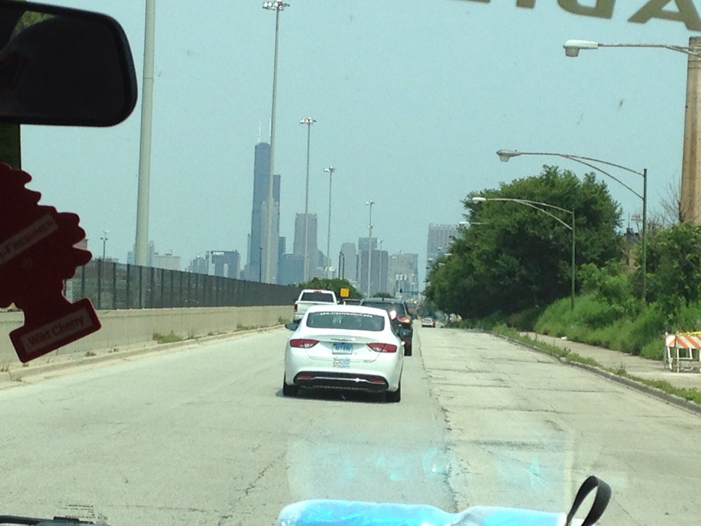 Chicago skyline as we entered the city