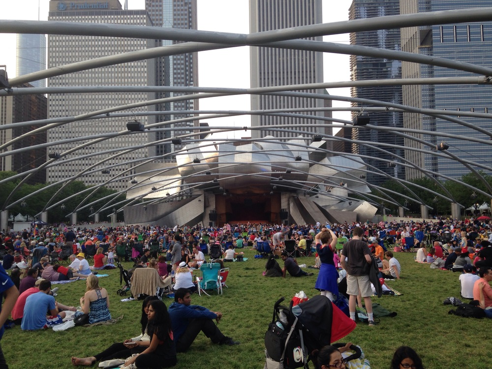 Jay Pritzker pavilion and the Harris Theater for Music and Dance.
