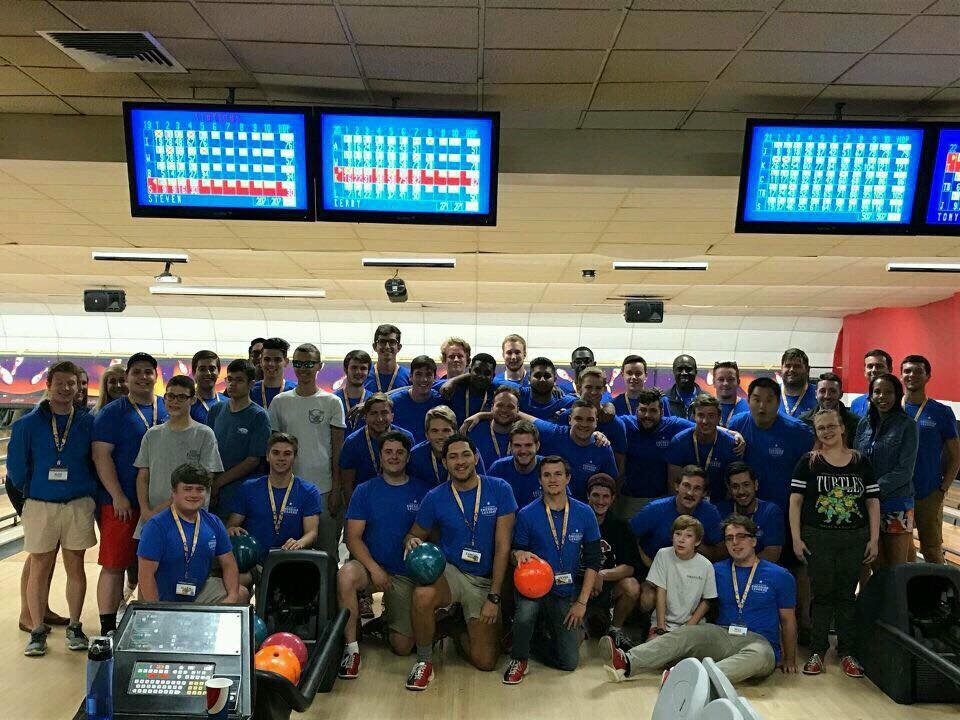 The members of Pi Kapp college go bowling with a great group of kids to support the Abilty Experience.