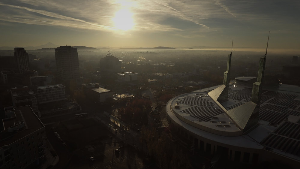 The Oregon Convention Center at sunrise