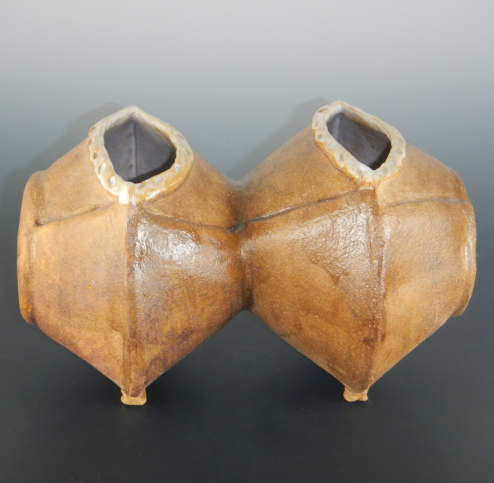 "(""Conjoined Vessels"" by Mimi Stadler. Stoneware with iron oxide wash, glazed inside, 1999. Photo by the artist, 2014.)"