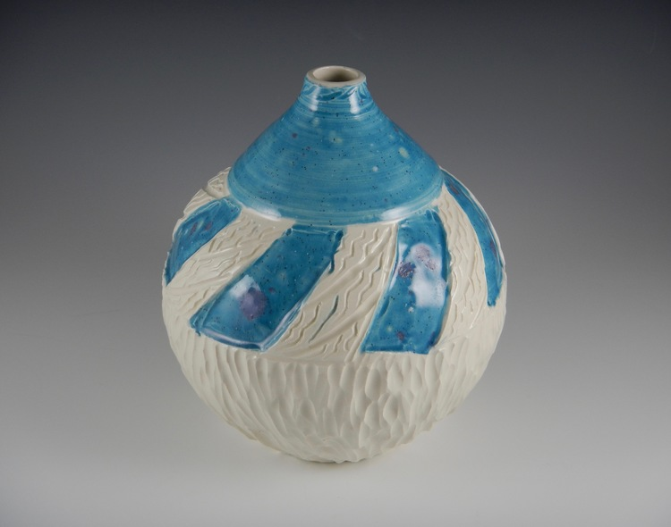 Bright Turquoise White Carved Vase Mimi Stadler Pottery