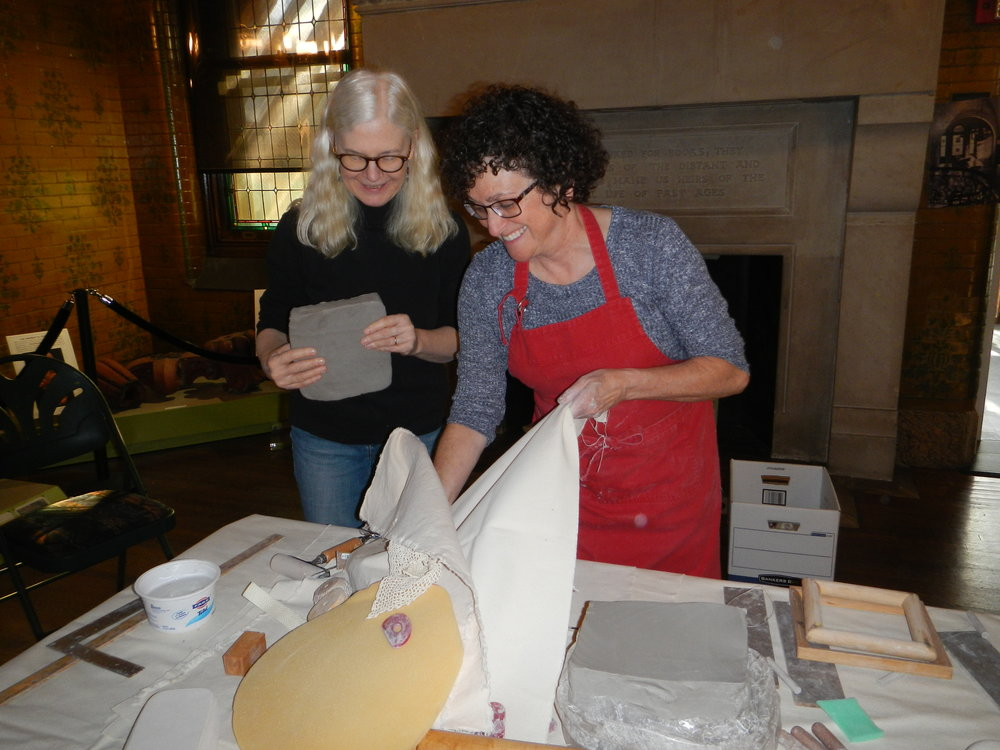 (With a student at a recent class at the Museum of Early Trades and Crafts, November 2016.)