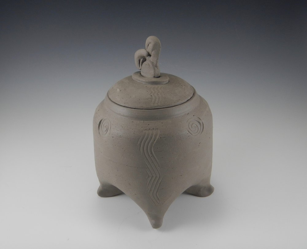 "4-legged jar, as yet unfired stoneware. More 4-leggers to come- a sort of ""whatever is interesting"" right now."