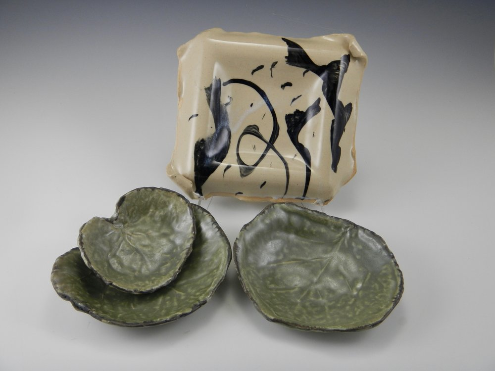 (Leaf dishes, and square plate made over a drape-mold)