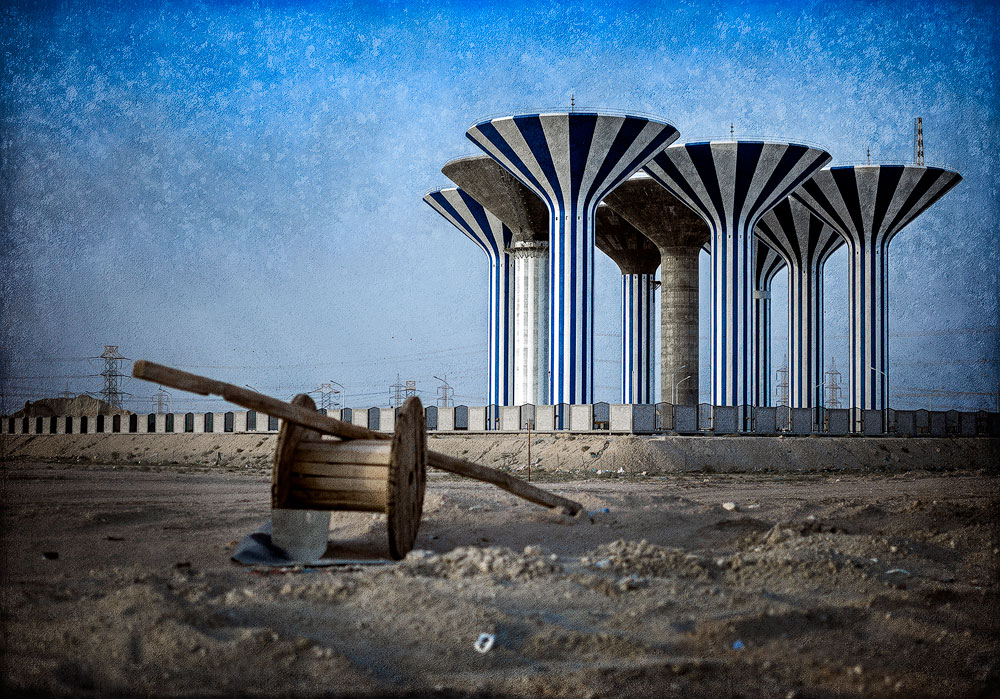 Water tanks in the desert
