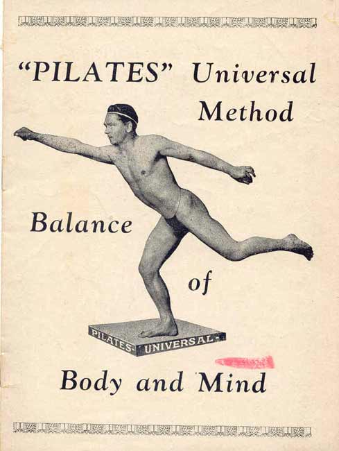 Front cover of the first Pilates brochure.