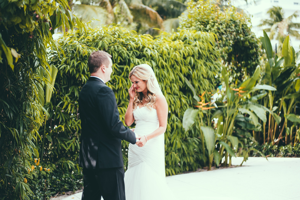 The Palms Hotel & Spa Wedding Miami Florida Photographer First Look Bride Crying Seeing Groom