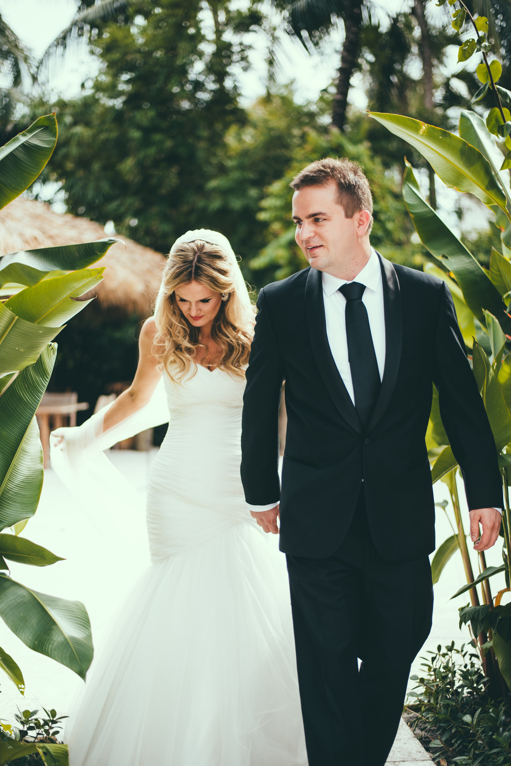 The Palms Hotel & Spa Wedding Miami Florida Photographer Bride Groom walking to ceremony