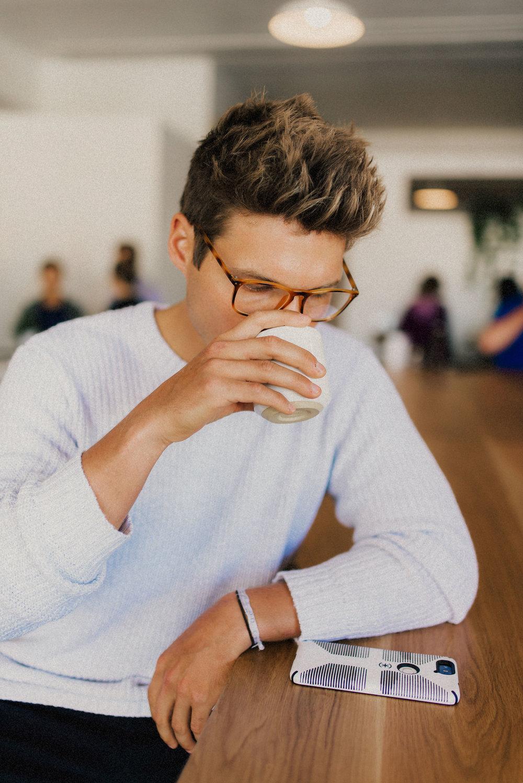 Bran (Brandon) enjoying his coffee at Bandit Coffee in St Pete Florida - Naples Florida Wedding Photographer - Tampa Wedding Photographer - Stills by Hernan