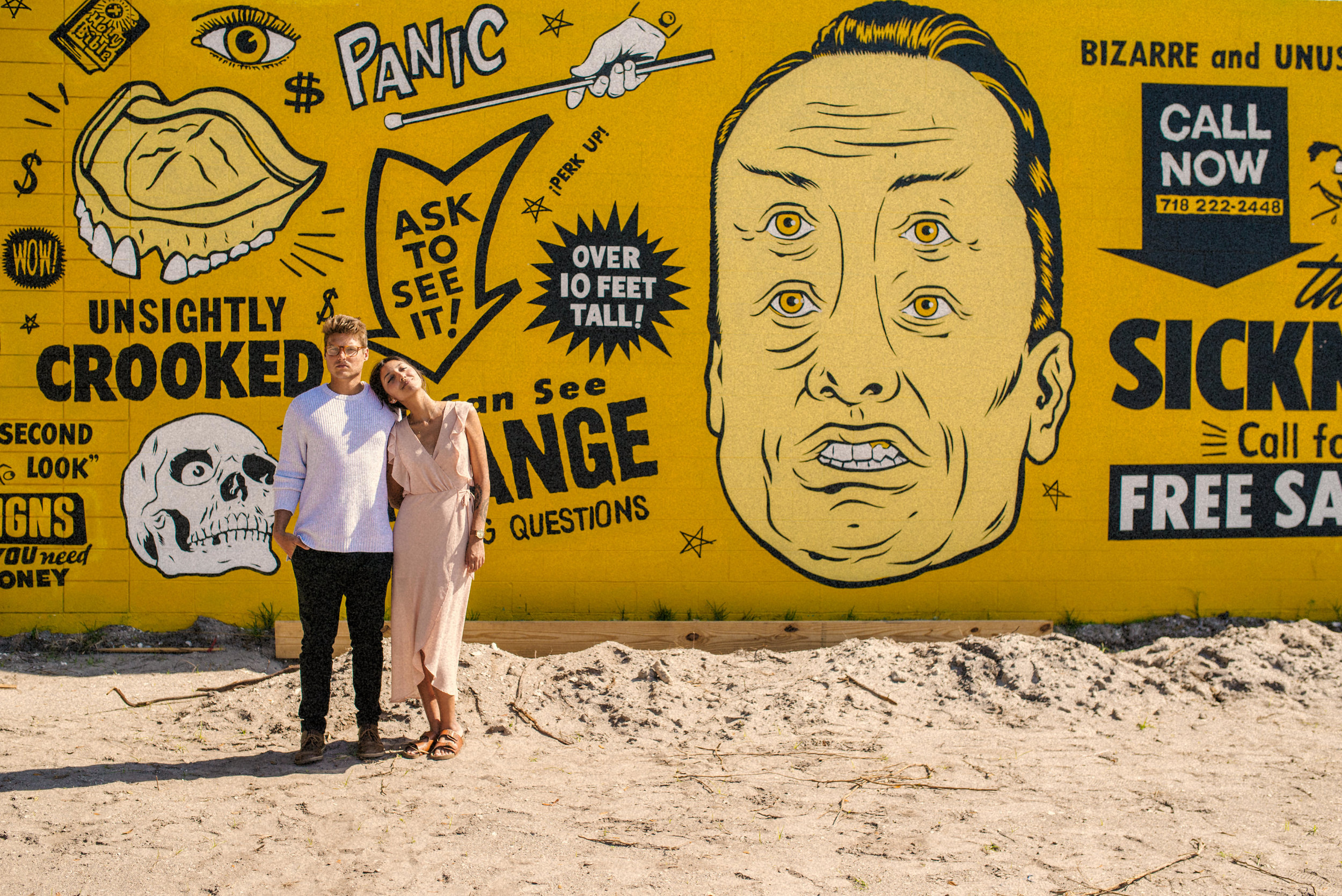 Bran + Hills St Pete Yellow Graffiti Wall Couples Portraits - Naples Florida Wedding Photographer - Tampa Wedding Photographer