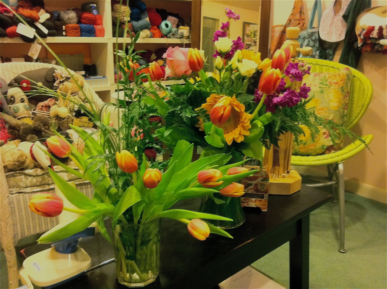 … there were flowers at the studio … beautiful ones … fragrant roses and cheerful tulips … as if smiles from gumby … i miss her so …