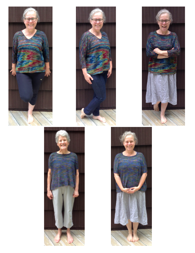 Top row ... LOLA in Miss Babs KATAHDIN the BERLIN colorway ... after yoga ... out for shopping ... out for dinner ... one sweater changed up ... Bottom row LOLA in madelinetosh PRAIRIE the SPECTRUM colorway ... for Susan but she let me try it on!