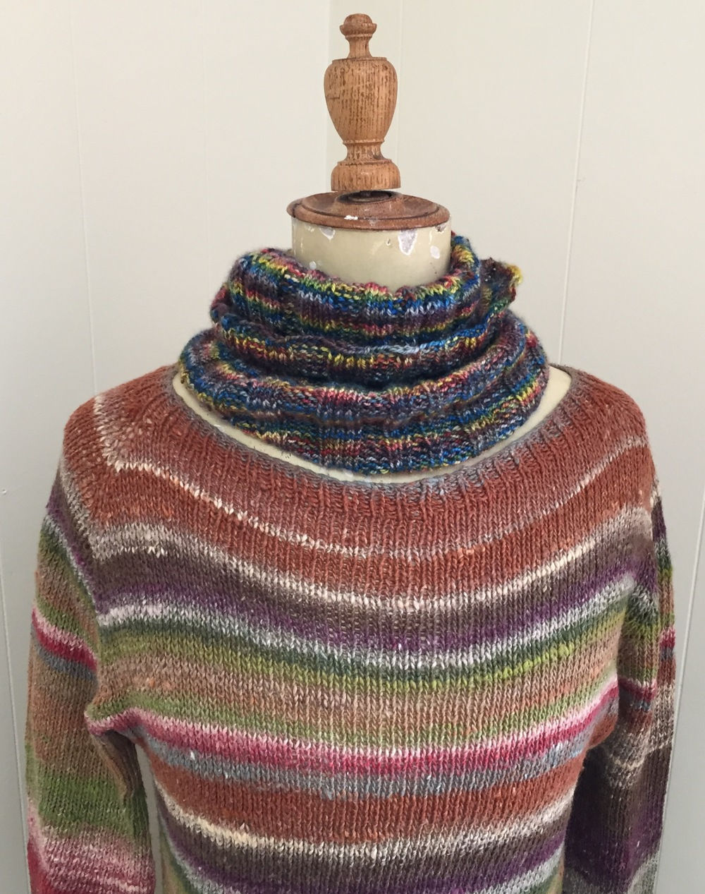 Josephine is wearing the COOPER cowl over a NORO TAIYO Lace sweater ... Miss Babs and Noro play nicely together ... never ceases to amaze me how it can all go together!