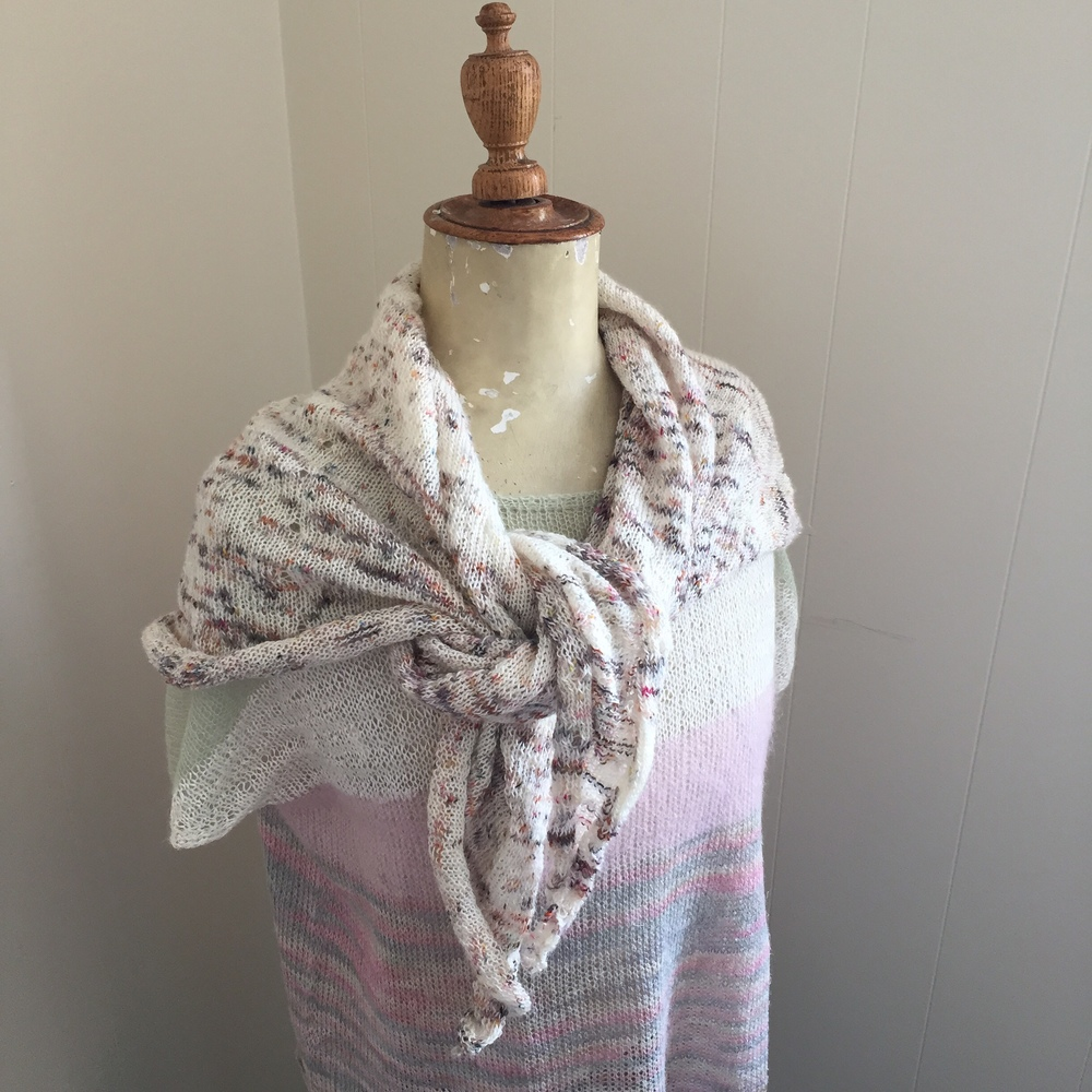 Josephine wears the JET STREAM shawl in madelinetosh PRAIRIE the MODERN FAIR ISLE most gorgeous color ever!