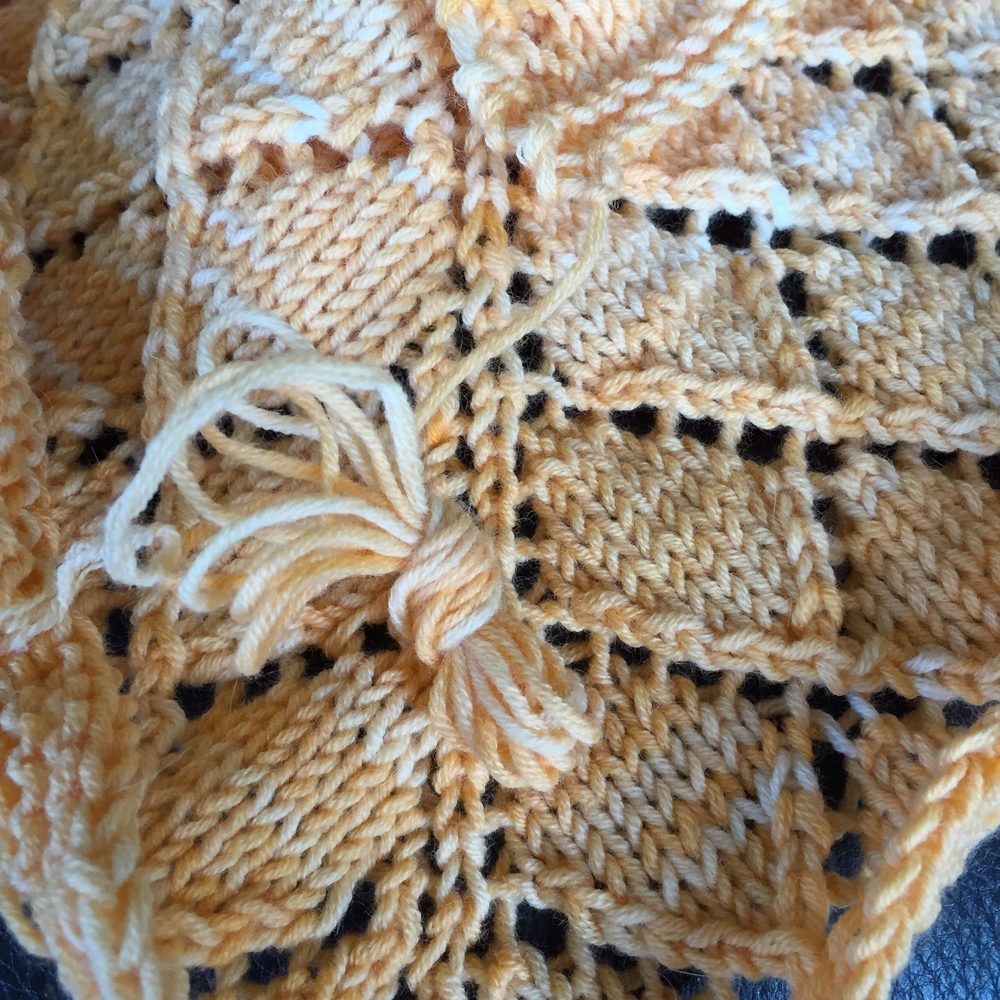 "Zero waste knitting which absolutely thrills me to pieces ... just a smidgen over 2 yards left ... enough for the little project tag into the box and that's it!  Dorothea  is laying pretty now after a soak in EUCALAN wooly wash unscented ... before blocking 62"" wide and 29"" deep at the triangle ... it's going to be a super lovely drapey shawl ... on to the fingering weight incarnation thereof!"