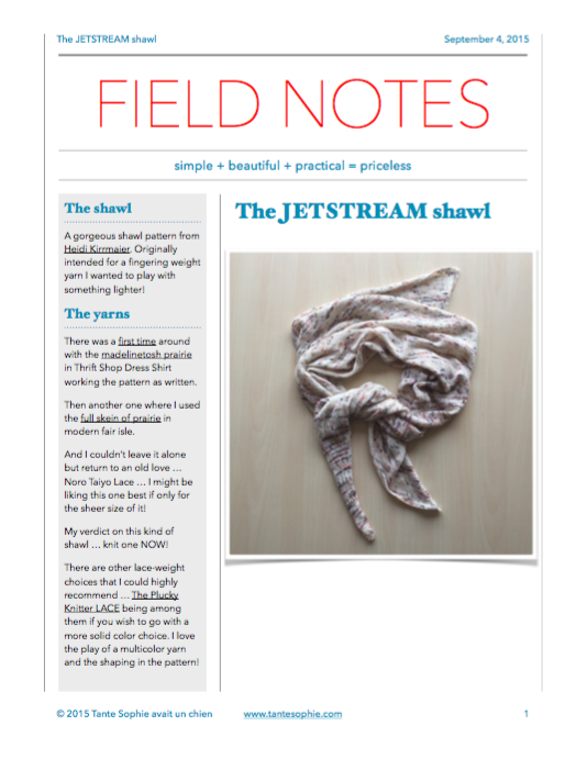 The FIELD NOTES are written to give you more insight into a pattern and yarn choices and hopefully help you make good decisions for future successful projects that make you happy!