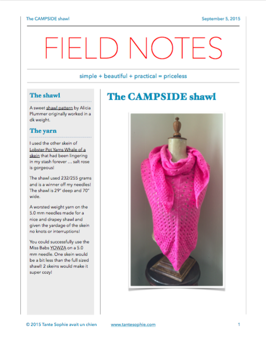 The FIELD NOTES are written ... you know you'd like to read them!