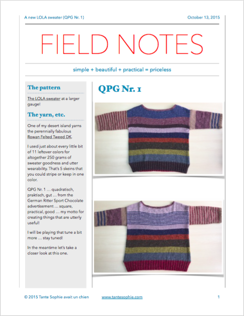 The FIELD NOTES and all the knitty gritty details for your very own super light very wearable and awesome QPG sweater ... quadratisch, praktisch, gut ... square, practical and good!
