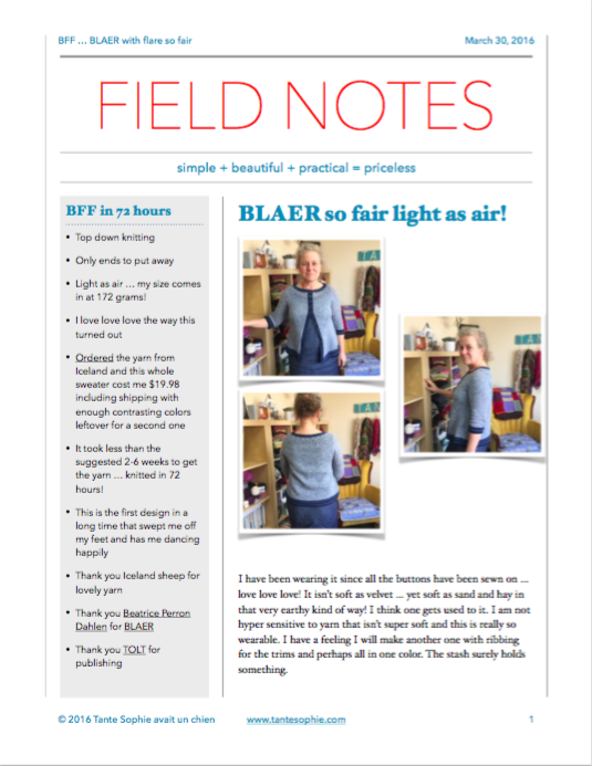 FIELD NOTES ... click for the file to read up close!