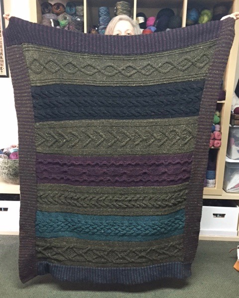 ARAN cable blanket of your dreams ... double layer trim around the edges!