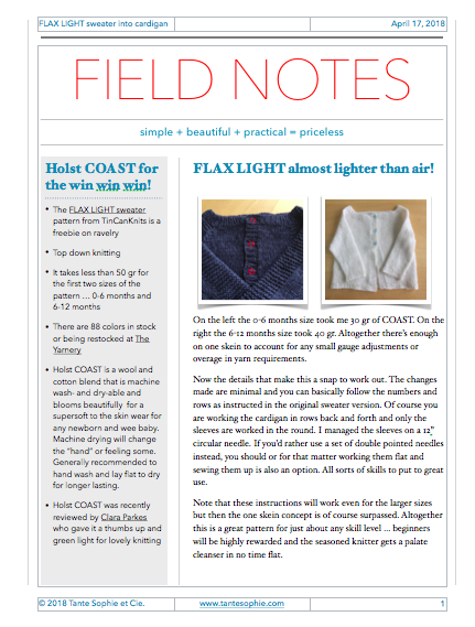 FIELD NOTES 1/2018