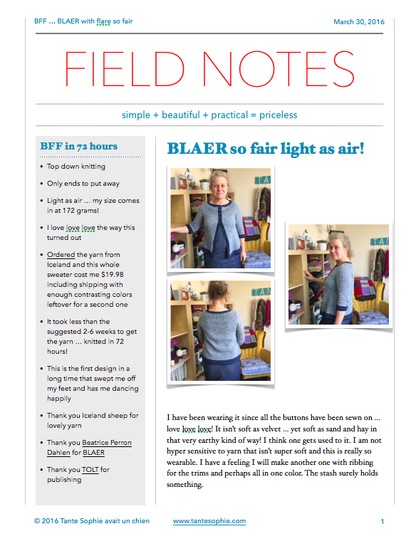 FIELD NOTES 3/2016