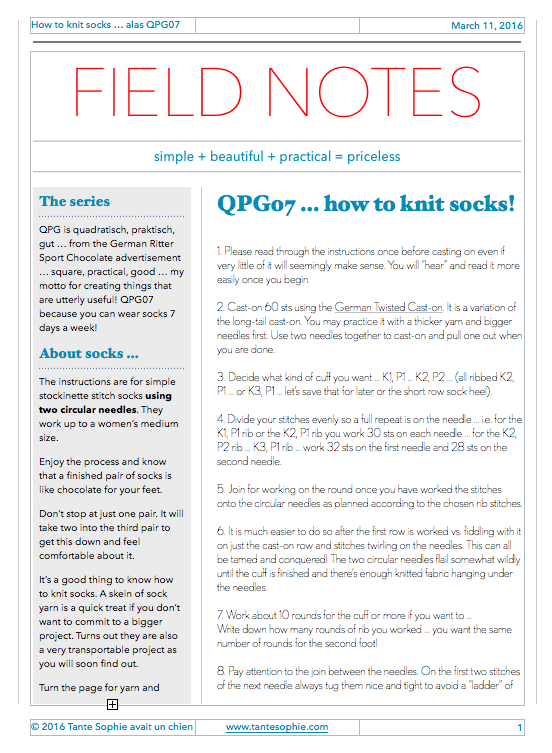 FIELD NOTES 1/2016