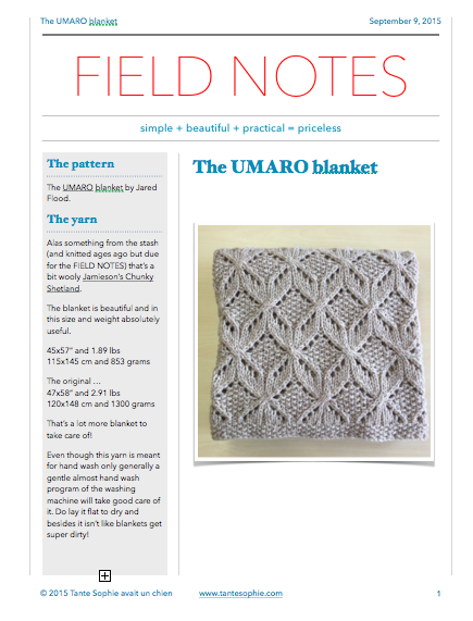 FIELD NOTES 10/2015