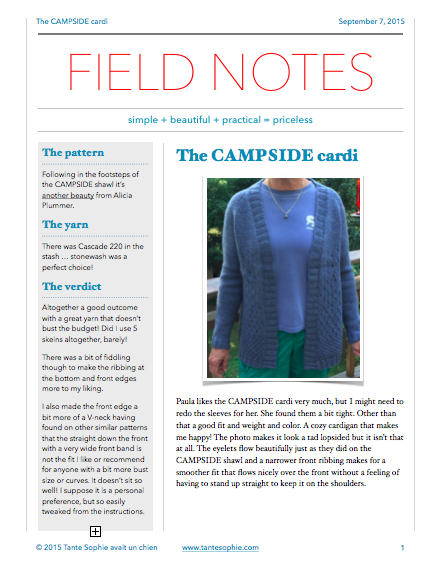 FIELD NOTES 9/2015