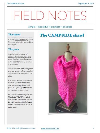 FIELD NOTES 7/2015