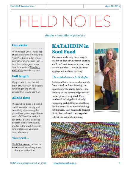 FIELD NOTES 1/2015