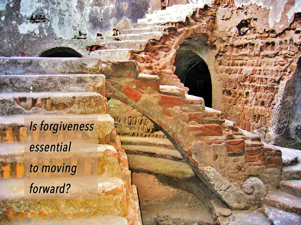 "Is forgiving REALLY essential to moving forward/growing? Does it really get to the heart of the matter?  Allowing ourselves to feel our anger, pain, sense of betrayal, upset, outrage is actually what's essential to our healing and growth. Making safe space to fully experience and vent all of the energy of those feelings – by our selves, not on someone and without judging ourselves for feeling/doing so – is what heals us.  Carving such space out of our busy lives can be enormously challenging, so we may have to do this process in small, intermittent bits and snatches. This will still work.  It takes as long as it takes, though much less time if we fully embrace rather than judge our right to have these feelings.  New Age (as well as Christian) precepts warn us that it's only by forgiving those who've wronged us that we can move on and grow ourselves or be good people. In response, we pressure ourselves to let go of our anger and upset at those who've hurt us, we force ourselves to be okay with whatever it is/was. When we do this, the truth (as I see it) is that we are actually further violating/wounding our already violated/wounded selves.  And, currently popular New Age ""law of attraction"" flap would have us believe that ""feeling such [so-called negative] feelings will only draw more of the same to us.""  Yet, shutting off these feelings when they arise forces them below the level of our awareness and stows them into our bodies, wreaking havoc inside of us.  Those who've physically, sexually and/or emotionally abused us, in childhood or as adults, have treated our precious selves in truly unacceptable and unforgivable ways. As we allow ourselves to feel and know this, we can – at the same time – come to a place of recognizing that these misguided victimizers were doing the best they could with the consciousness available to them. We can see them as emotionally crippled beings. We can understand that they were unable to act differently.  Yet, we do not need to pardon, excuse, absolve or exonerate their acts even as we understand that what they did was all they were capable of doing at the time.  Compassionately acknowledging, honoring and taking the most gentle care of our precious and wounded self/spirit is what helps us to heal."