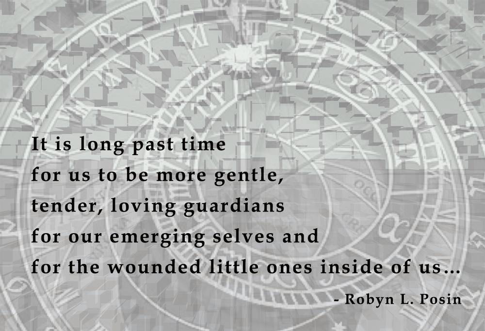 From the opening of Robyn's book, Go Only As Fast As Your Slowest Part Feels Safe to Go: Tales to Kindle Compassion and Gentleness for Our Exhausted Selves. http://www.amazon.com/Only-Fast-Your-Slowest-Feels-ebook/dp/B00BROR16Y/ref=sr_1_1?s=books&ie=UTF8&qid=1437311036&sr=1-1&keywords=robyn+posin Follow us on Facebook at Compassionate Ink.