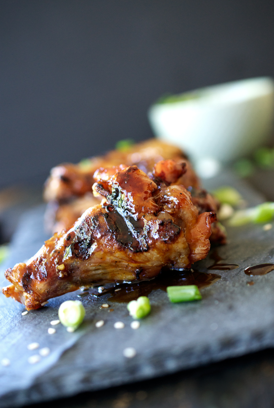 Grilled Asian Chicken Wings — Up Close & Tasty