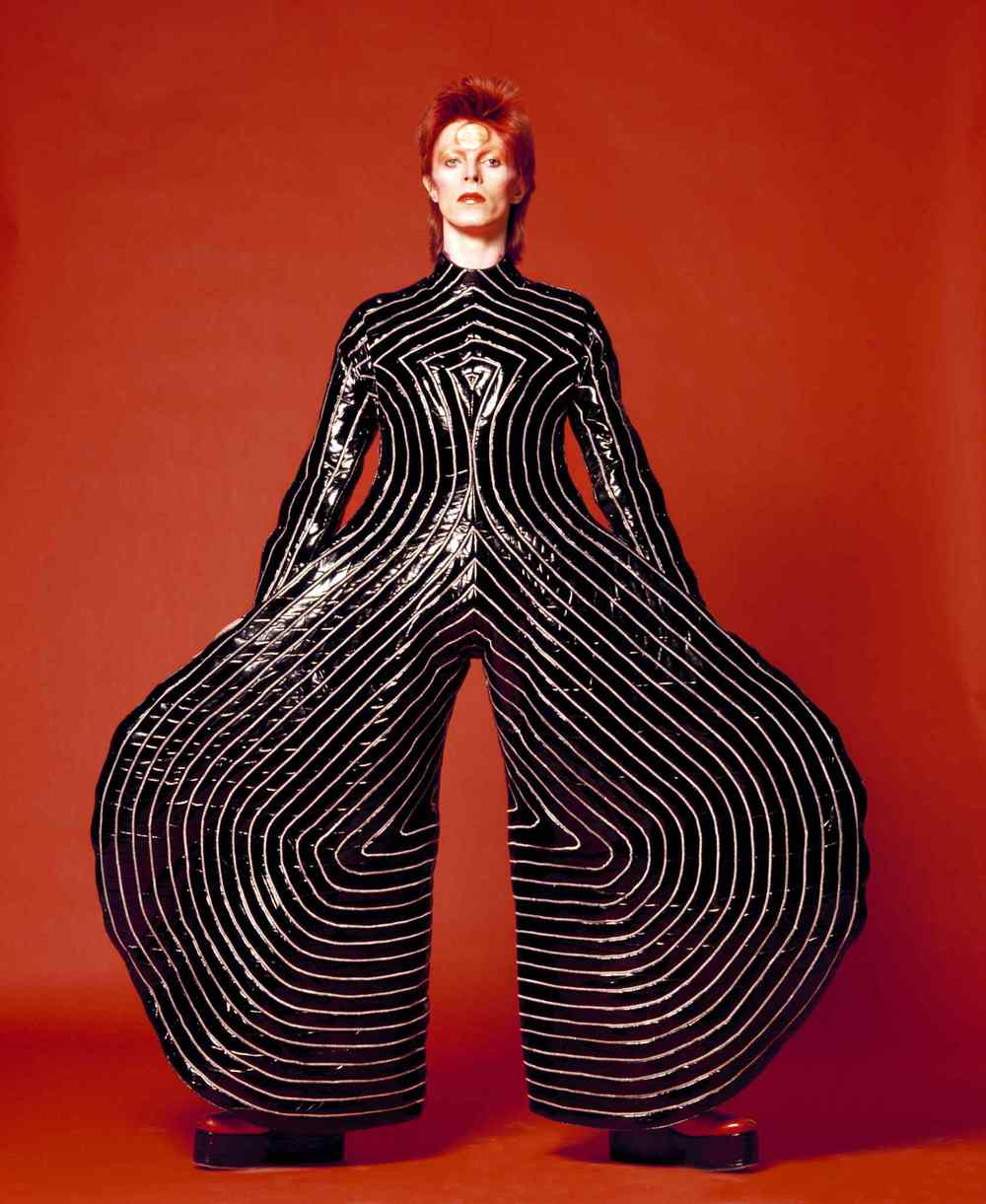 Striped bodysuit for Aladdin Sane tour, 1973 | Design by Kansai Yamamoto | Photograph by Masayoshi Sukita | © Sukita / The David Bowie Archive 2012