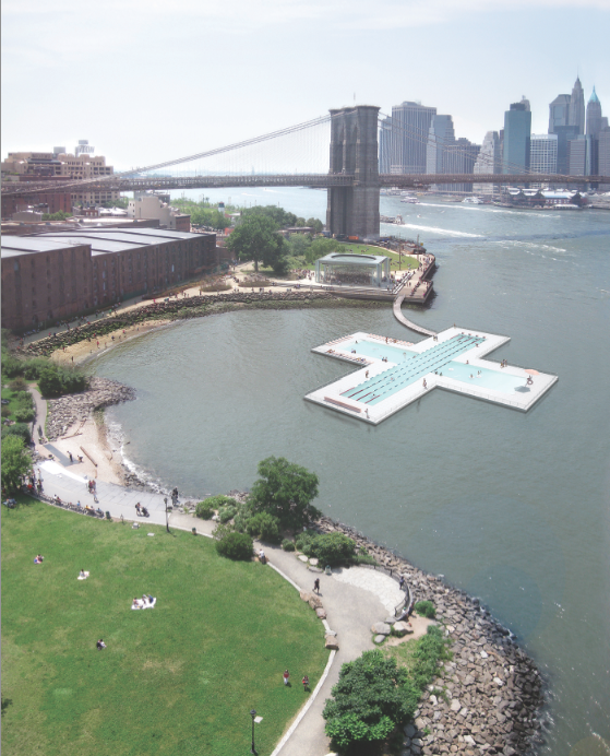 + POOL sited in the East River between Brooklyn and Manhattan Bridges, courtesy Family & PlayLab