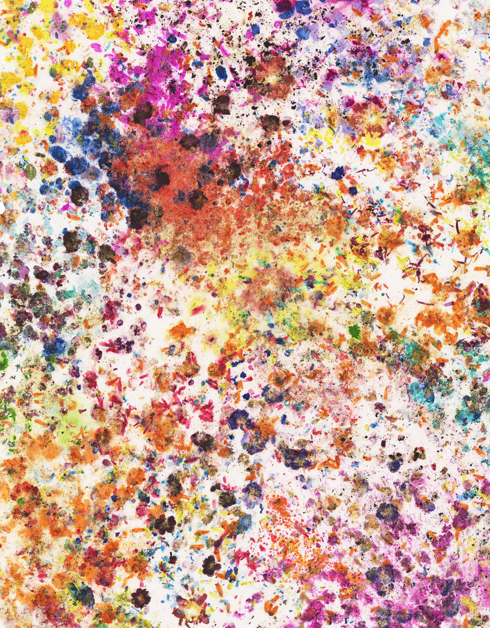 Dan Colen -Orgasm Addict, 2014  Flowers on bleached Belgian linen 63.75 x 49.75 in (161.93 x 126.37 cm)  Estimate  $125,000 - $140,000