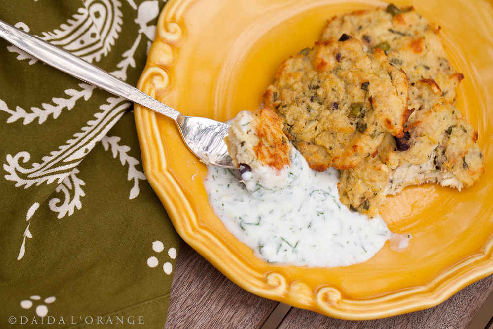 Baked Veggie Patties with Yogurt Dill Sauce