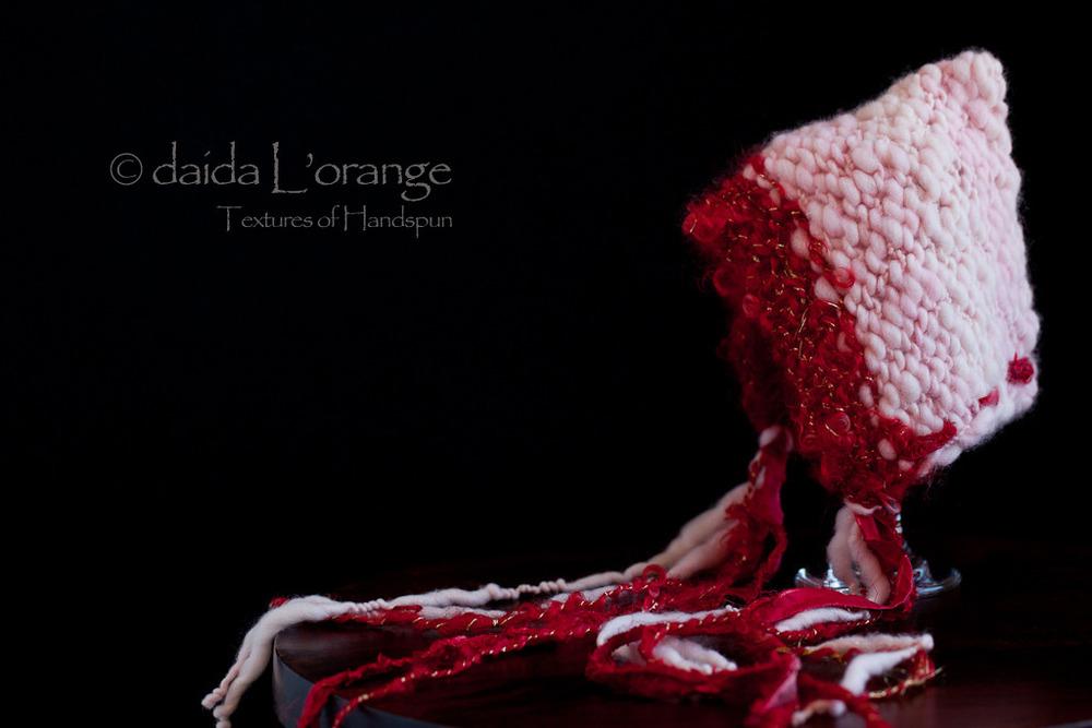 OOAK Newborn Daida Luxe Reversible Pixie Bonnet Hat - Crimson Pink - Spring Coll