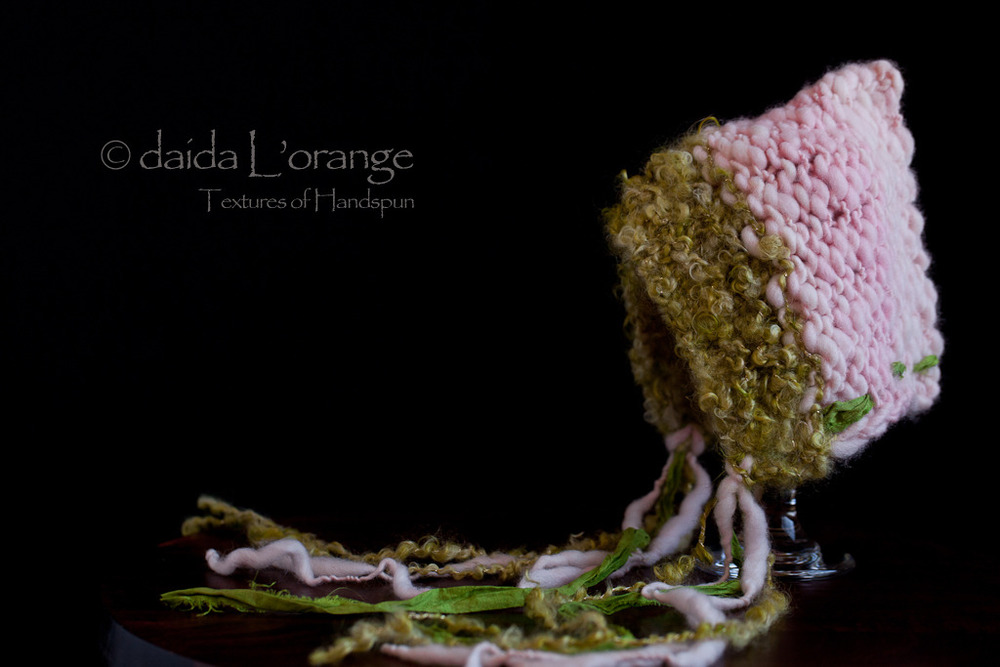 OOAK Newborn Daida Luxe Reversible Pixie Bonnet Hat - Moss Pink - Spring Collect