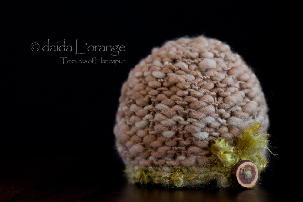 OOAK Newborn Luxe Textured Beanie Hat with Button - Mocha Moss - Spring Collecti